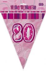 Pink Glitz '80th' Birthday Flag Banner